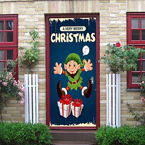Iusun Christmas Door Sticker Snowman Elves Eve Pattern Decal Decoration Room Home -