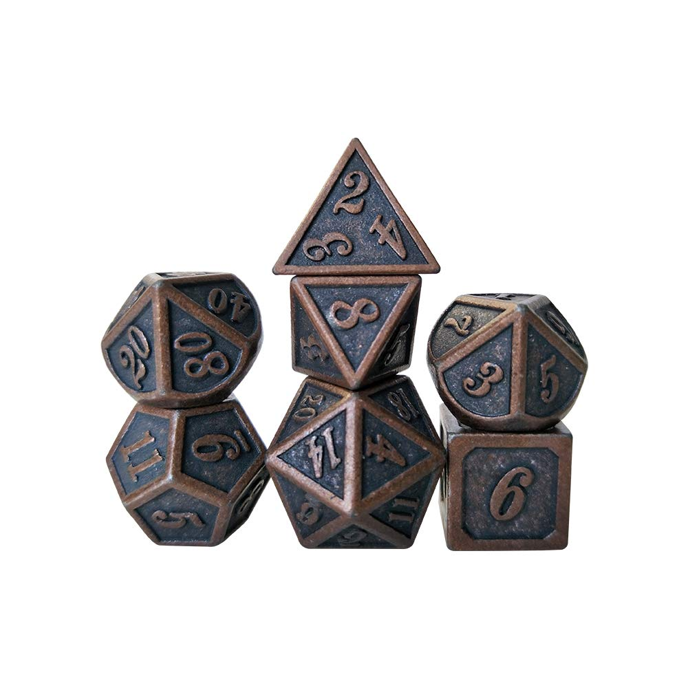 YH Poker 7PCS Metal Dice Set D&D Dice D20 D12 D10 D8 D6 D4 for Dungeons and Dragons DND RPG MTG Table Games Polyhedral Dice-New red Copper by YH Poker
