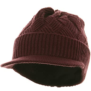 ec16be73e4c8ee Rasta/NYE Acrylic Plain Beanie Visor-Burgundy at Amazon Men's Clothing  store: Skull Caps
