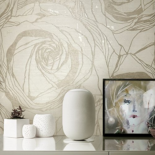 76 sq.ft rolls Made in Italy Portofino textured wallcoverings modern embossed Vinyl Wallpaper ivory Beige cream champagne gold brass metallic floral large roses flowers decor pattern wall coverings 3D