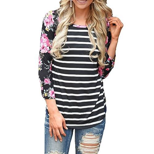 Blusas Otoño Mujeres – Camisas FloralesTshirts Rayas Shirts 3/4 Hoodies Cuello Redondo Pulóver Impresión Trabajo Diario Casual S-3XL Yuxin