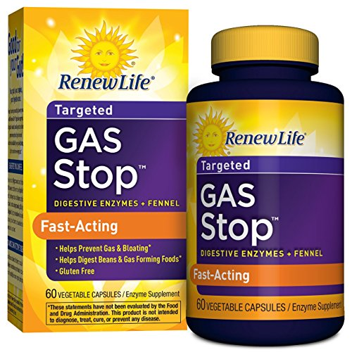 Renew Life Adult Digestive Enzyme - Gas Stop, Enzyme Supplement  - 60 Vegetable Capsules