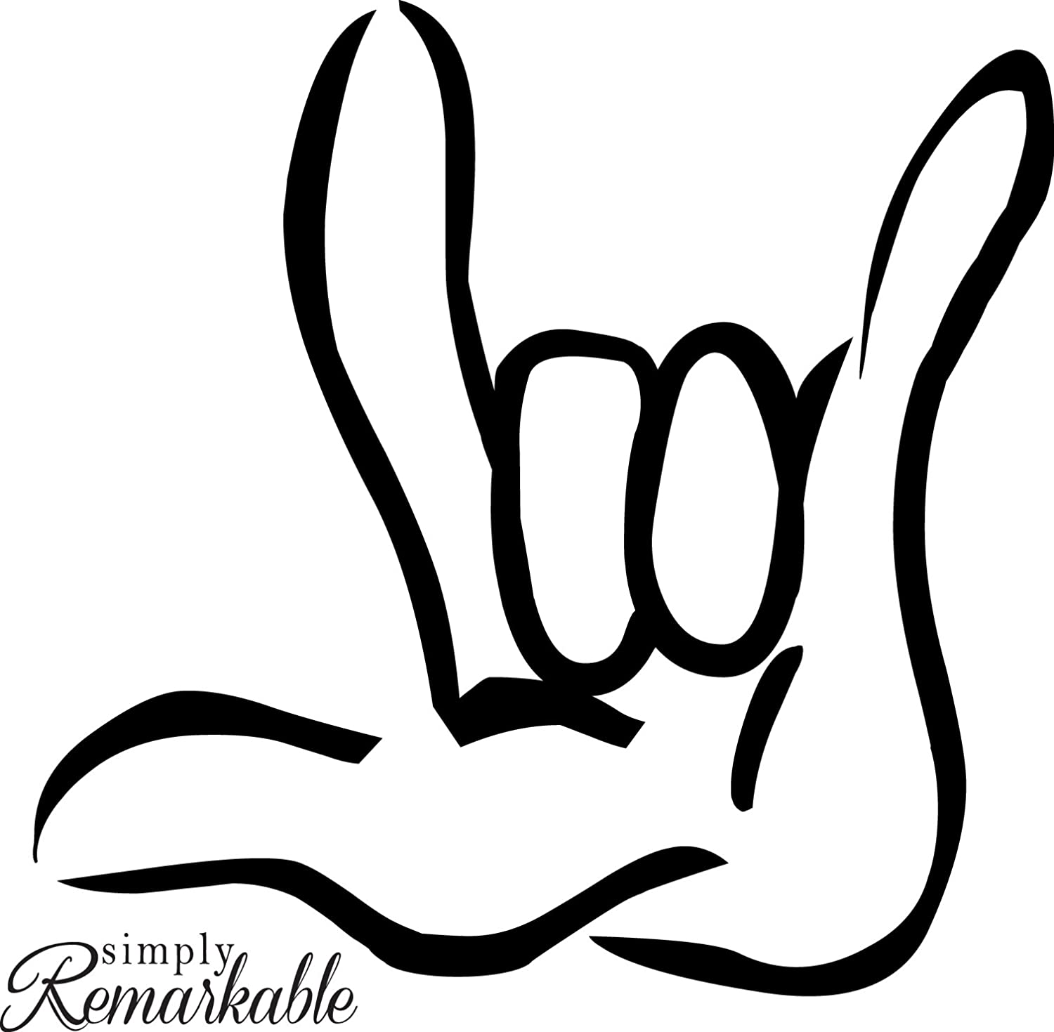"Vinyl Decal Sticker for Computer Wall Car Mac Macbook and More Sign Language""I Love You"""