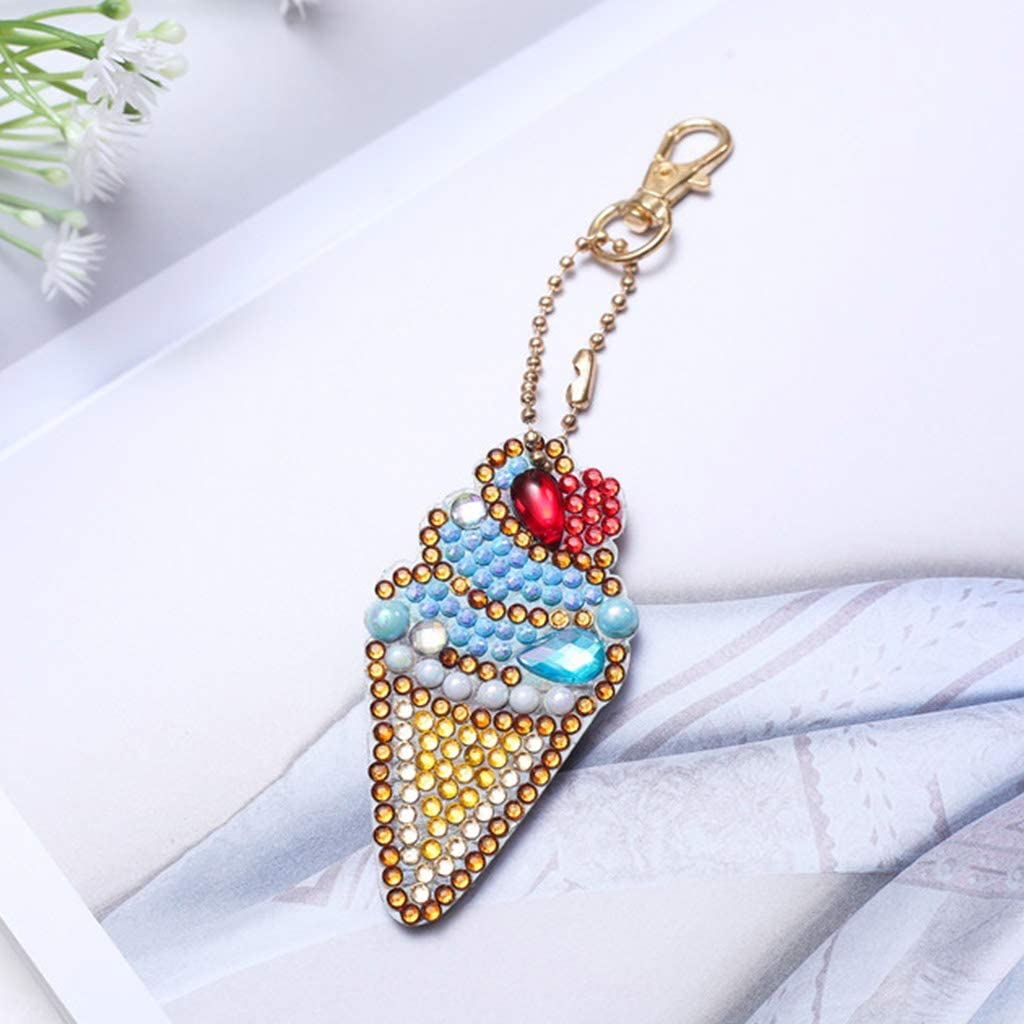 S-TROUBLE 5pcs Set Full Drill Diamond Painting Porte-cl/és Sac Pendentif pour Art Craft Porte-cl/és T/él/éphone Charm Bag Decor , Cr/ème glac/ée et Rouge /à l/èvres