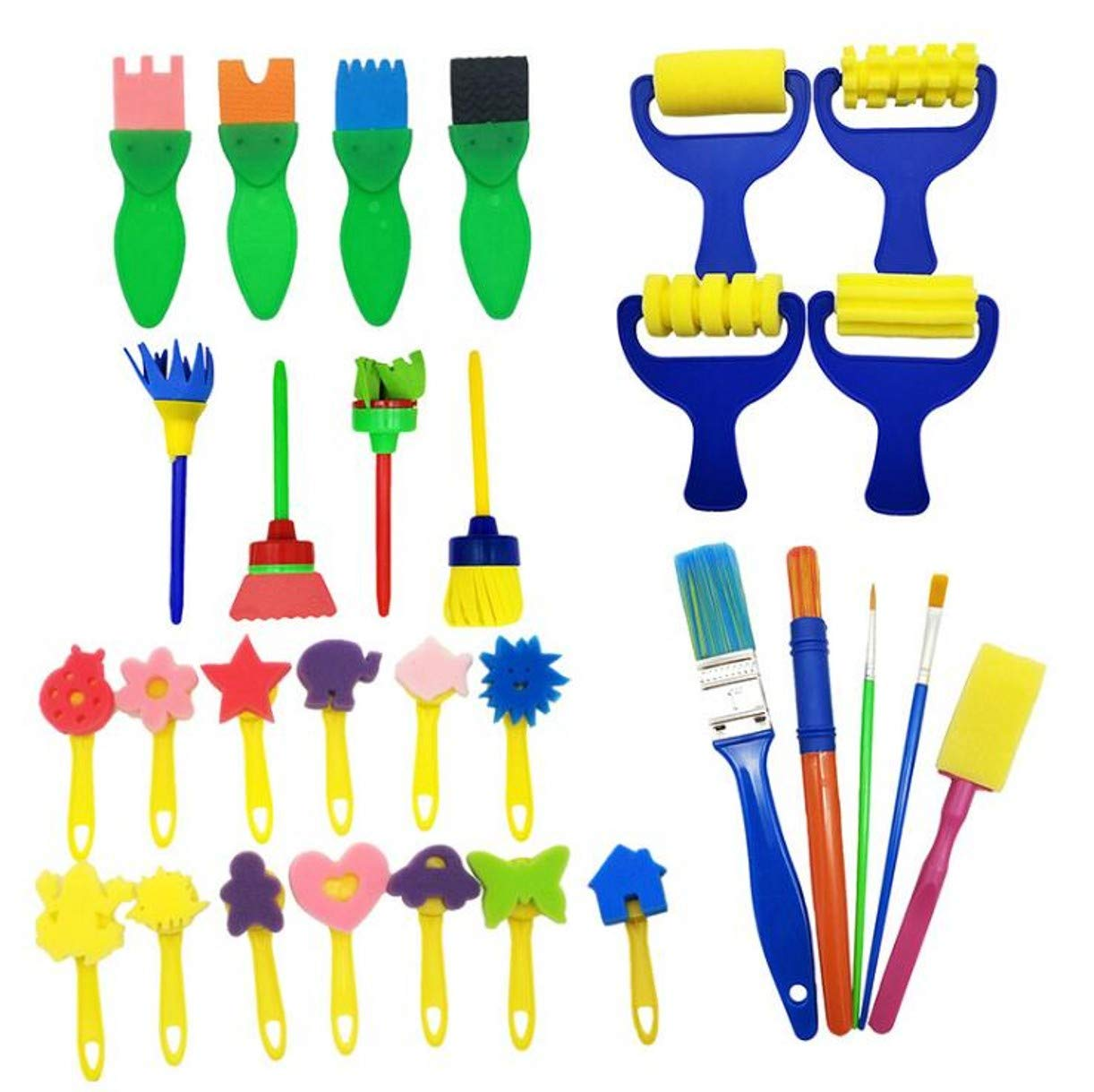WellieSTR 30pcs Set Creative Sponge Painting Brushes Kids Painting Kits Early Learning Foam Brushes for DIY Art Crafts
