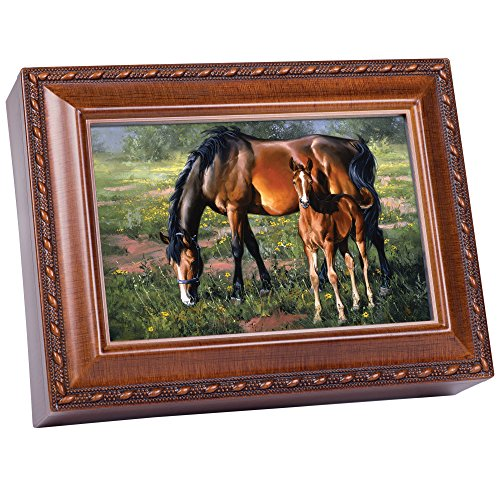 Cottage Garden Horses Pretty As A Picture Woodgrain Music Plays Wonderful World
