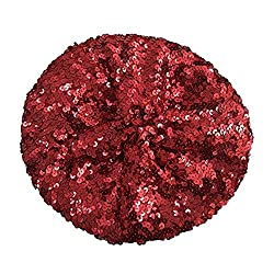 A6-red colored Sequin Beret Beanie Hat