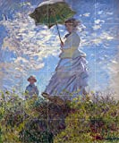 Tile Mural Woman parasol landscape by Claude Monet Kitchen Bathroom Shower Wall Backsplash Splashback 5x6 4.25'' Ceramic, Glossy