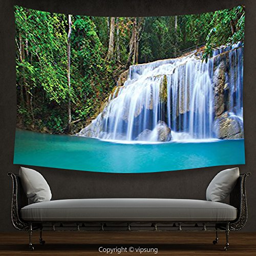 (House Decor Tapestry Waterfall Decor Collection Hidden Pool in Forest Rocky Brook Waterfall and Foliage Picture Turquoise Green Wall Hanging for Bedroom Living Room Dorm)