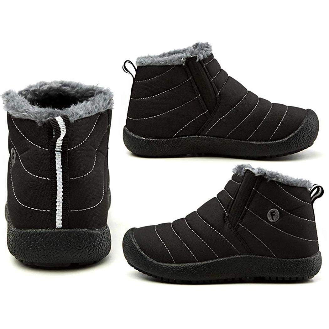 MinGe Kids Winter Snow Boots Fur Lined Warm Outdoor Ankle Waterproof Boots Shoes for Girls Boys