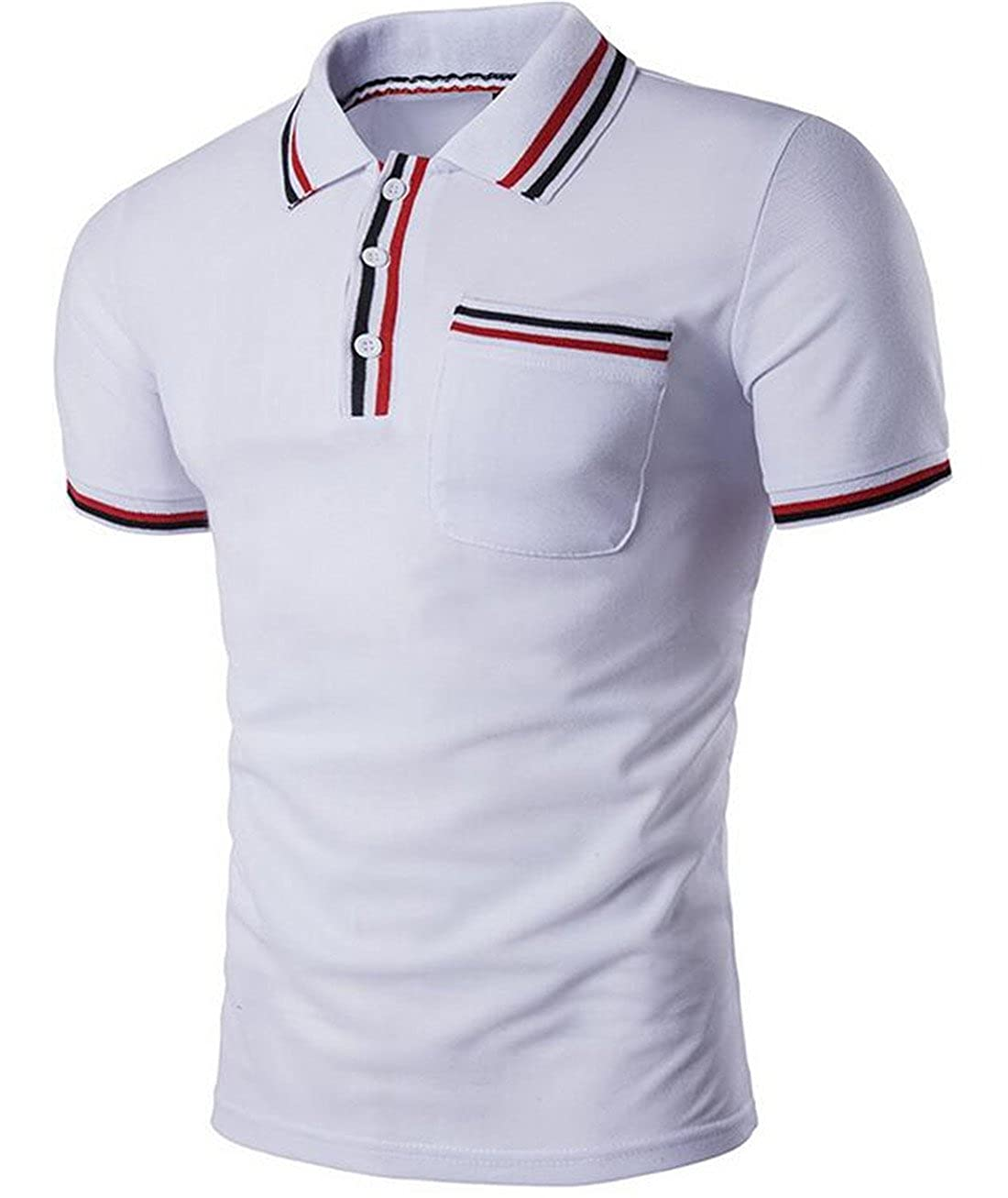 SELX Men Casual Short Sleeves Button Patched Pocket Slim Fit Polo Shirt