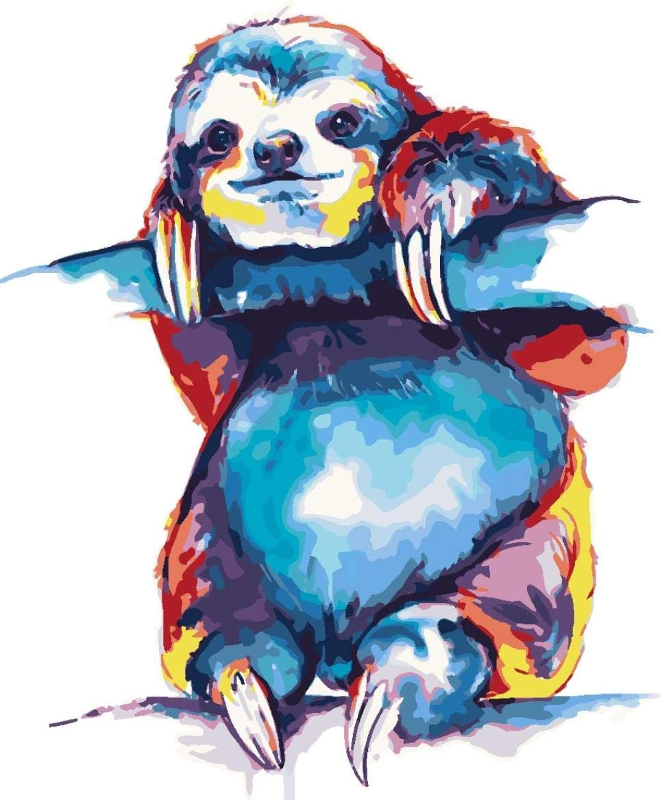 Cute Painted Sloth WYTCY Paint By Numbers Linen Canvas Oil Painting Modern Art Painting Diy Painting Kit Suitable For Adults And Beginner40*50CM