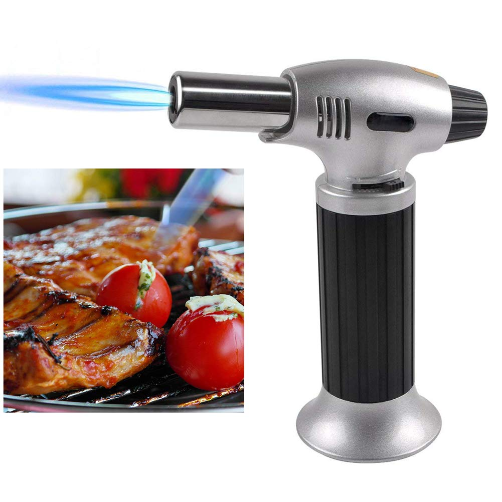 Wgwioo Blow Torch/Kitchen Butane Torch,Kitchen Cooking Culinary Torch Adjustable Flame Lighter for BBQ and Baking, DIY,Black,2PCS by Wgwioo (Image #1)