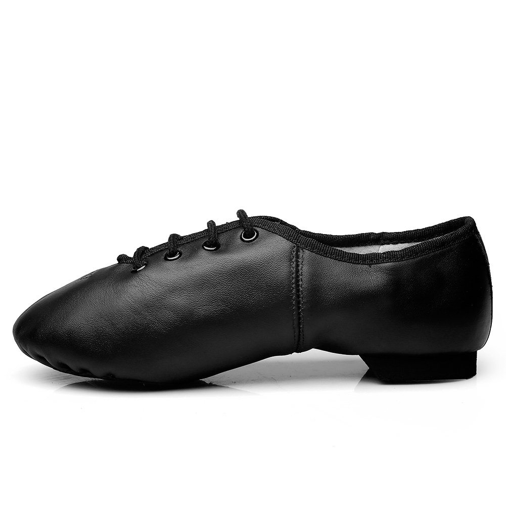 MSMAX Unisex Lace Up Leather Dance Shoes Soft for Dancers
