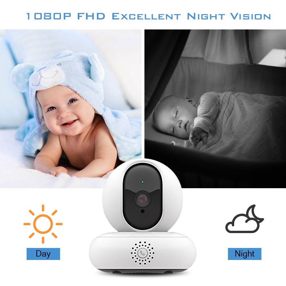 Home Security Camera Wifi,1080P HD Wireless IP Security Surveillance With Night Vision Motion Detection Cloud Service 2-Way Audio Micro SD Recording Monitor for Baby/Elder/Pet