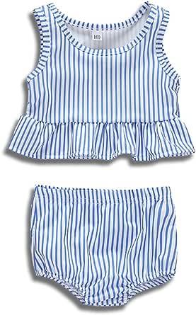 Divilon Little Girls Cropped Peplum Tankini 2 Piece Sleeveless Striped Ruffles Swimsuit Summer Suit