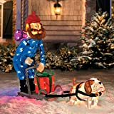 Christmas 42'' Yukon Cornelius Dog Sleigh Scene Outdoor Tinsel Decoration