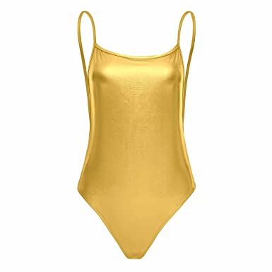 iiniim Femme Thong Justaucorps de Sport Gym Ballet Danse sans Manches Cuir  Verni Bodys Dos Nu 851029bf31b