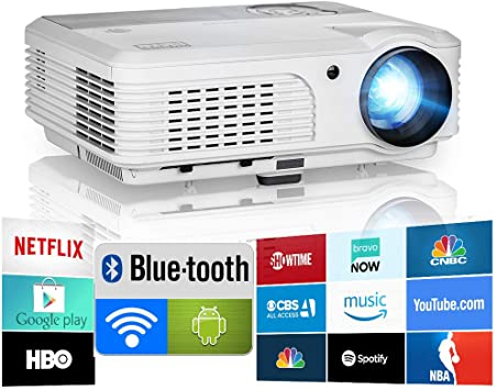 2020 Bluetooth Projector WiFi Android LCD LED Smart Video Projectors Home Theater 4400 Lumens Support HD 1080P Airplay HDMI USB RCA VGA AV for ...