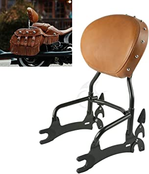 XMT-MOTO 14 Backrest Sissy Bar w//Luggage Rack fits for Indian Chief 2018,Chief Classic 2014-2018,Chief Dark Horse 2016-2018,Chief Vintage 2014-2018,Black Sissy Bar Upright w//Desert Tan Pad