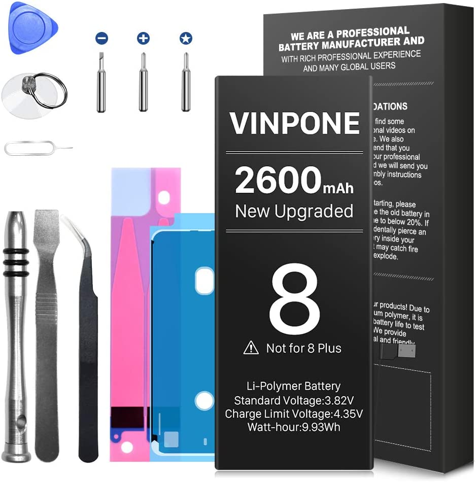Amazon.com: Battery for iPhone 8,[Upgraded] 2600mAh Ultra High Capacity New  0 Cycle Replacement Battery with Complete Professional Repair Tool Kit [18  Months Warranty]