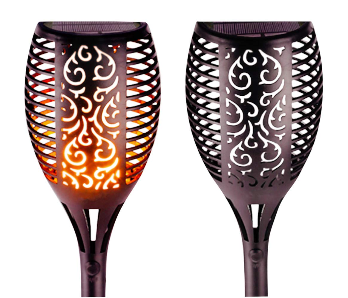 GetherDirect Solar Torch Lights – Waterproof Solar Tiki Torches Outdoor Flickering Flame Lights Quality LED Landscape Lighting Lights Outdoor Garden, Yard, Lawn, Pathway, Driveway (2 Pack). - DESIGN; SEE VIDEO BELOW. These 2 solar torches will add a bright festive atmosphere to parties and special occasions and romantic ambiance on the right night; Enjoy no nonsense resort-style tropical lighting without the costs; Equally great at giving you a more permanent hassle free upgrade to any outdoor place or space; Easily spike them in the ground and leave them to brighten and beautify your spaces patios pathways and perimeters DURABILITY and SECURITY; SolaTorch solar tiki torches come with an ON OFF switch giving you the benefit of leaving them on to automatically light up in the dark or turning them off to preserve longevity; SolaTorches provide added security in the form of affordable portable tactical lighting in the areas and spaces you need it ECO-FRIENDLY and ECONOMICAL; SolaTorch solar flame torches are a safe alternative to real flames using intelligent energy saving wireless solar technology; Translation; self charging no wires NO BATTERIES REQUIRED and no electrical bills; IP65 Waterproof grade weather resistant DURABLE ABS MATERIAL; 3.7 Volt battery capacity rating of 2200mAh and 8.14 Watt Hours means your SolaTorches endure harsh climates perform optimally and they are a long lasting investment - patio, outdoor-lights, outdoor-decor - 61pVIlVS4iL -