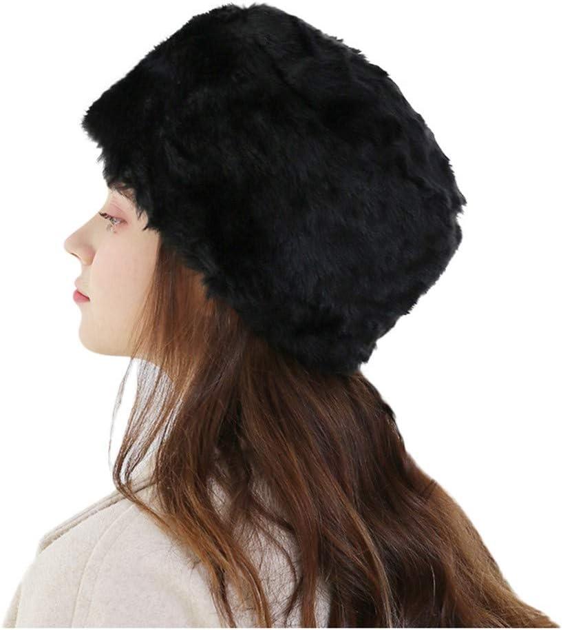Winsummer Womens Faux Fox Fur Hat Russian Cossack Ski Christmas Caps Cable Knit Beanie Winter Warm Cap