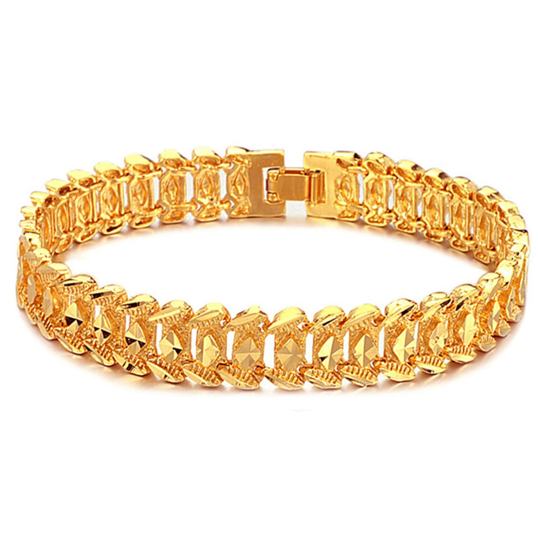7388d88d7 Amazon.com: Suyi Men's 18K Gold Plated Link Bracelet Classic Carving Wrist  Chain Link Bangle Narrow: Jewelry