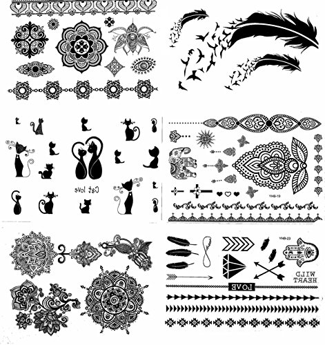 Henna Tattoo (6 Sheets) Body Paints Temporary Tattoo Designs Feathers/Mandala/Cats/Lotus/Bracelet/Elephant/Birds and more