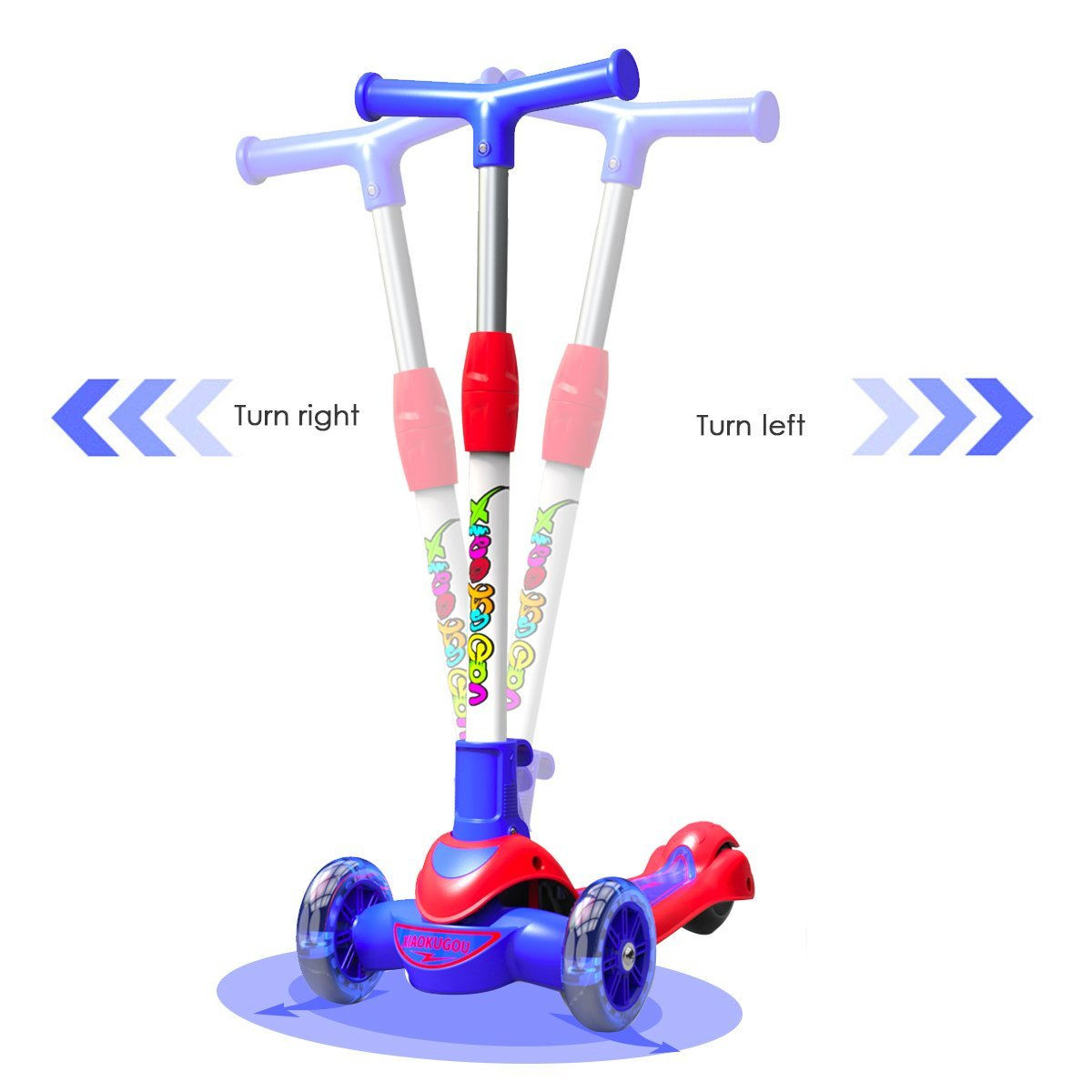 Greentest Scooter Foldable and Adjustable Height Lean to Steer 3 Wheel Scooters for Toddler Kids Boys Girls Age 3-8 by Greentest (Image #4)