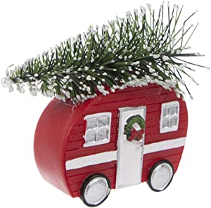 S&C Gifts Vintage Red Camper with Tree Ornament, Retro RV Camping Holiday Decor