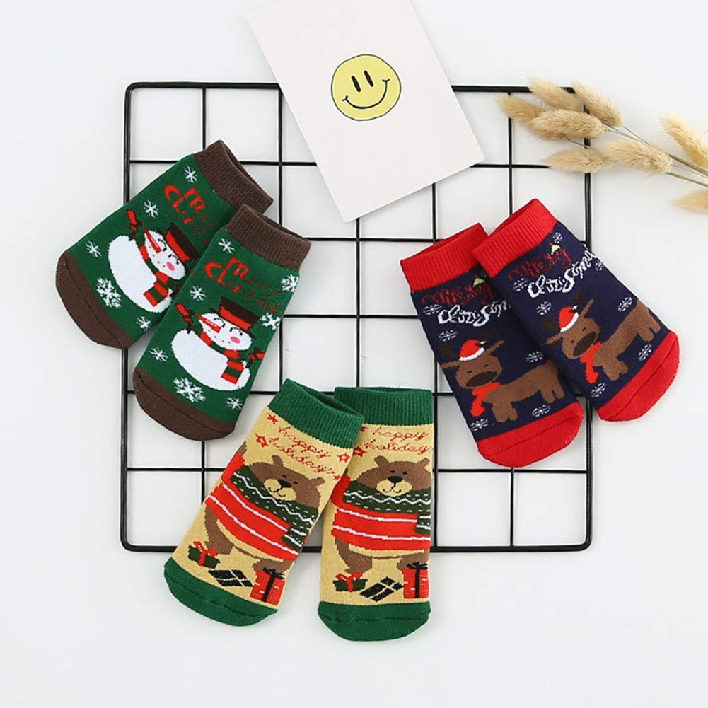 elegantstunning 3 Pcs//Set Christmas Children Socks Santa Baby Boys Girls Socks