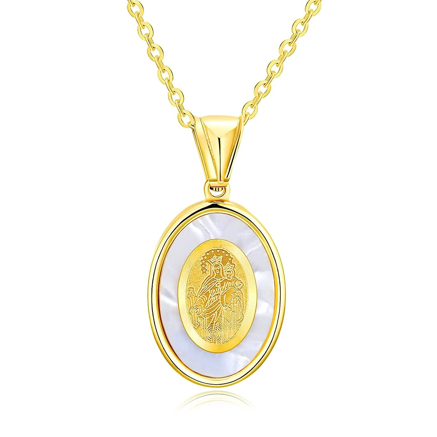 Aooaz Jewelry Pendant Necklaces Stainless Steel Virgin Mary Oval Necklaces for Women