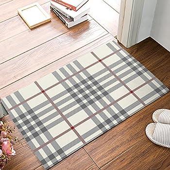 Amazon Com Pragoo Black White Cotton Rug Checkered Plaid