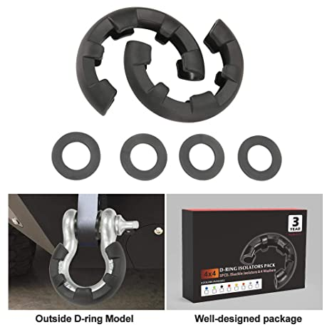 Unlimited! with Washers Included - Fits Standard 3//4 Shackles 4 Rhino USA D-Ring Shackle Isolators 2 Protect Your Shackles from Damage /& Prevent Rattling