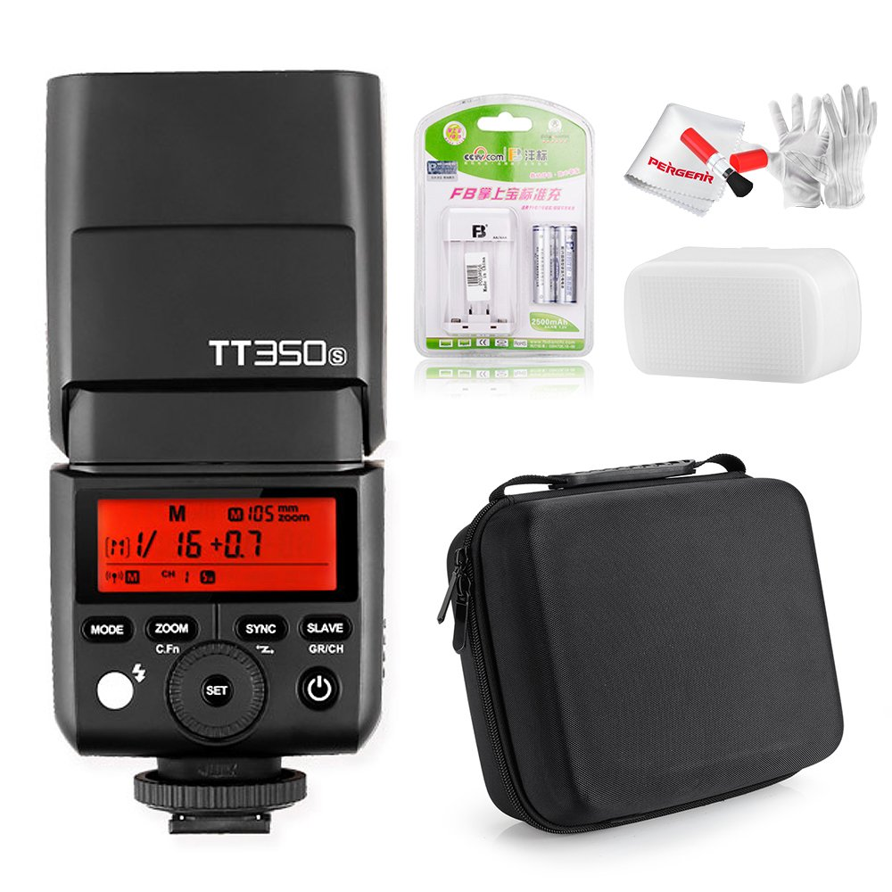 Godox TT350S 2.4G TTL Speedlite Flash for Sony Mirrorless Cameras A7 A7R A7S A7II A7RII A7SII A77II SLT A6300 A6000 - GN36 HSS 0.1-2.2s Recycle Time 210 Full Power Flash 24-105mm Auto/Manual Zooming