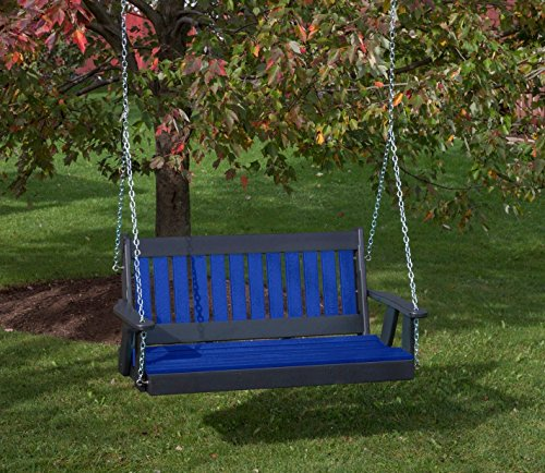 4FT-BLUE-POLY LUMBER Mission Porch Swing Heavy Duty EVERLASTING PolyTuf HDPE - MADE IN USA - AMISH CRAFTED