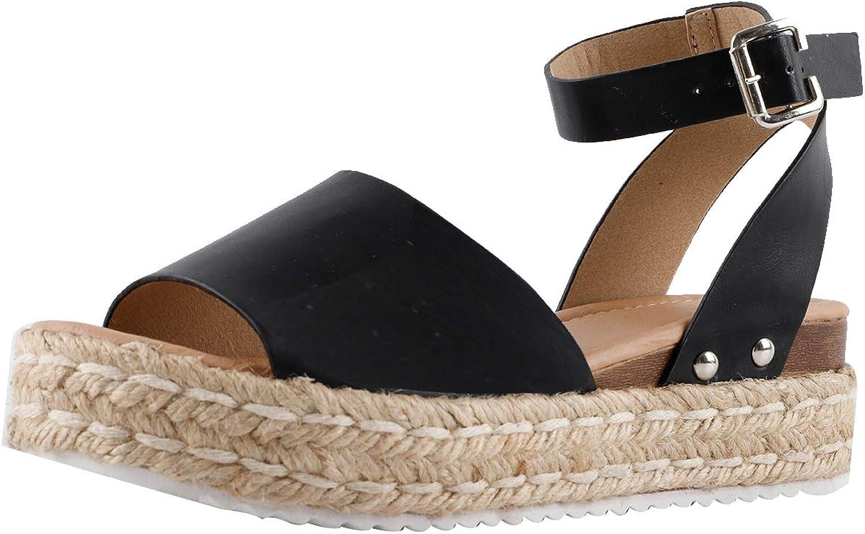 Gnpolo Womens Espadrille Wedge Sandals Platform Sandles Summer Buckle Casual Flatform Shoes