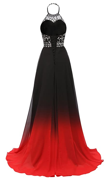 HEAR Womens Halter Gradient Chiffon Long Prom Dress Ombre Beads Evening Dresses Hear040 - - 12: Amazon.co.uk: Clothing