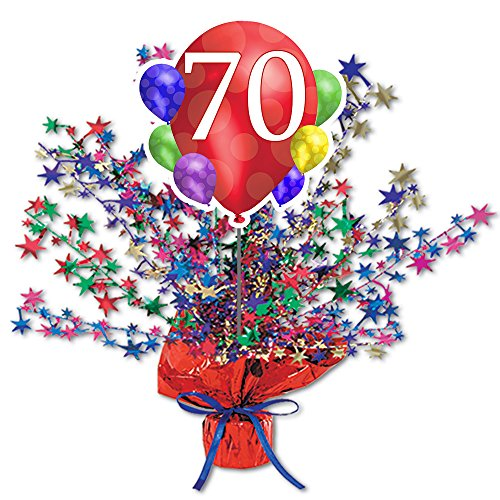 70TH BALLOON BLAST CENTERPIECE by Partypro -