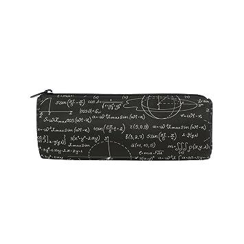 Ahomy Estuches de lápices negro blanco matemática fórmula cremallera bolsa para adolescentes niñas y niños, bolsa de viaje de maquillaje para mujeres