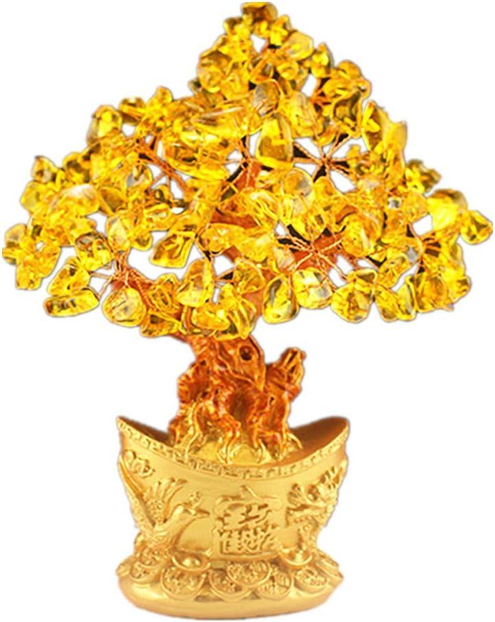 Feng Shui Árbol de dinero de cristal brillante en lingote dorado estilo bonsái decoración para riqueza y suerte, resina, Amarillo