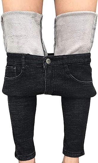chenshiba-JP 女性の厚いスキニージーンズパンツフリースラインスリムストレッチ暖かいデニムパンツ