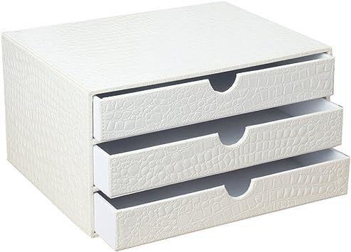 Met Love Oficina de Cuero Escritorio Archivadores Caja de Almacenamiento Blanco PU Mesa A4 Archivador Cajón Tipo Estante: Amazon.es: Electrónica