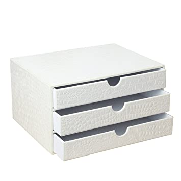 File Cabinets Artificial Leather Office Storage Box White A4 DELICATEWNN