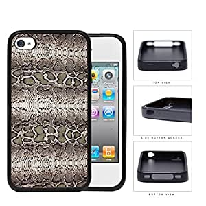 Taupe Snake Skin Print Design Rubber Silicone TPU Cell Phone Case Apple iPhone 4 4s