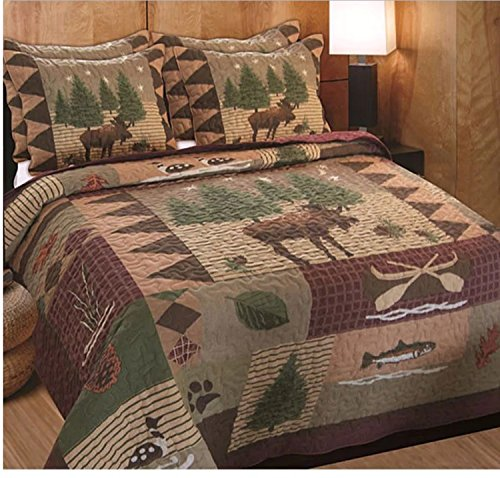 3 Piece Patchwork Moose Printed Pattern Quilt Set King Size, Featuring Rustic Tree Fish Duck Design Comfortable Bedding, Contemporary Animal Inspired Bedroom Decoration, Brown, Green, Multicolor by SE