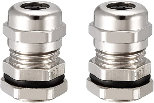 Fielect 2Pcs Waterproof Adjustable Cable Joints Cable Connector Silver Tone PG7