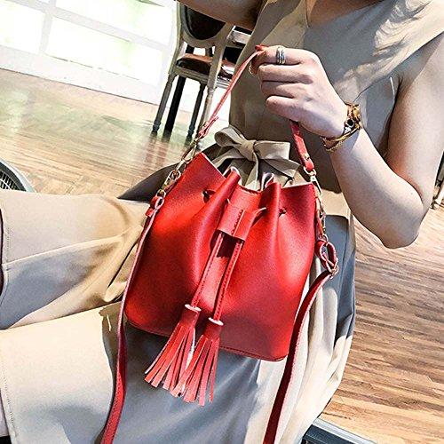Cordón rojo y Verde Borla Piel con para de Mujer sintética Bolso Bolso Mano Tamaño Cutowin Pequeño Cruzado CnwqU8xSa0