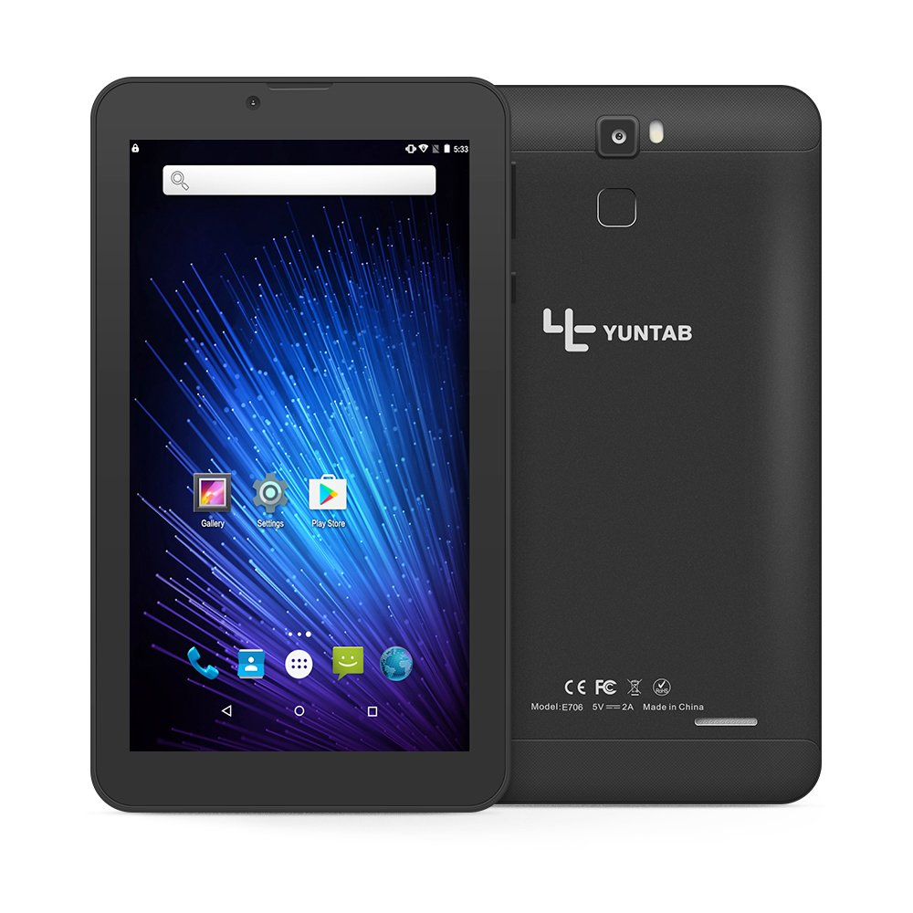 Yuntab 7 inch Android 6.0 3G Tablet pc Alloy Metal back Unlocked Smartphone Quad Core IPS 1024x600 Screen 1GB+8GB MID Phablet Pad 2800Mha with WIFI, GPS and Dual Camera (Black) by Yuntab